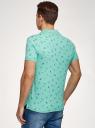 Поло принтованное из ткани пике oodji для мужчины (зеленый), 5L412007I-3/46737N/6579G