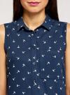 Топ вискозный с нагрудным карманом oodji для женщины (синий), 11411108B/26346/7912Q - вид 4