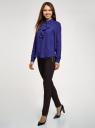 Блузка из струящейся ткани с воланами oodji #SECTION_NAME# (синий), 21411090/36215/7500N - вид 6