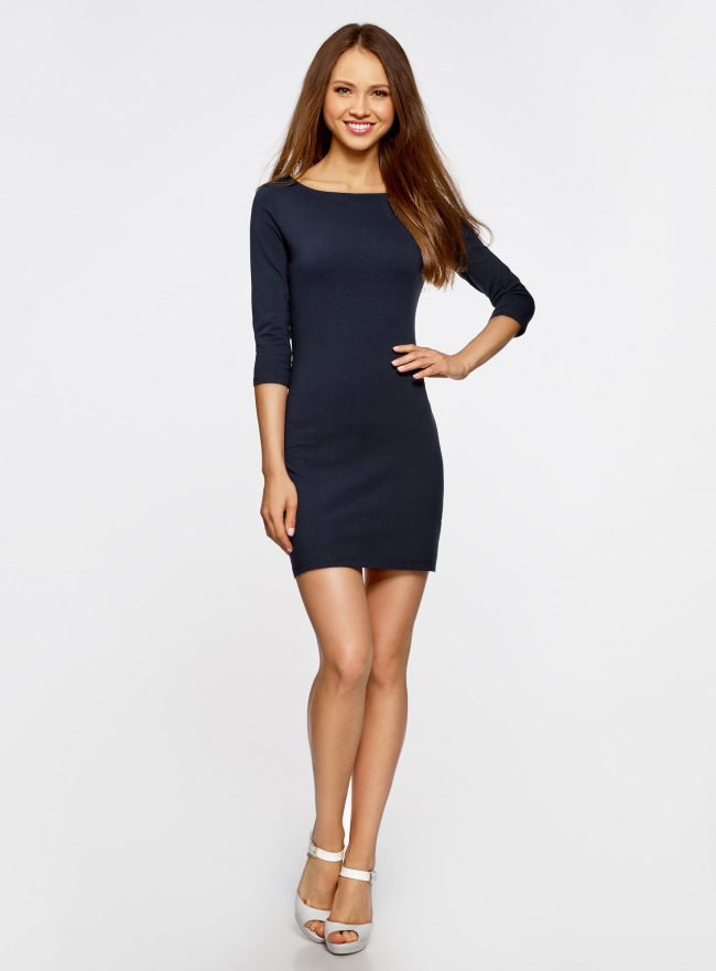 Платье трикотажное базовое oodji #SECTION_NAME# (синий), 14001071-2B/46148/7900N