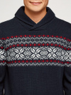 Пуловер вязаный с отложным воротником oodji для мужчины (синий), 4L205025M/25365N/7945N - вид 4
