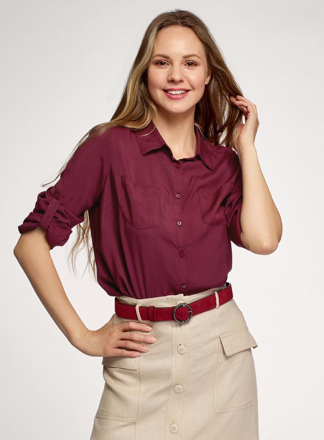Блузка с нагрудными карманами и регулировкой длины рукава oodji для женщины (красный), 11400355-10B/42540/4901N