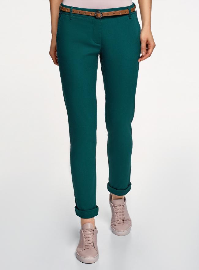 Брюки-чиносы с ремнем oodji для женщины (зеленый), 11706190-5B/32887/6E00N