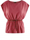 Блузка принтованная из вискозы oodji для женщины (красный), 11400345-2/24681/4912G