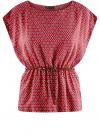 Блузка принтованная из вискозы oodji #SECTION_NAME# (красный), 11400345-2/24681/4912G