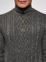 Свитер фактурной вязки с молнией на горловине oodji #SECTION_NAME# (серый), 4L305042M/48743N/2325O - вид 4