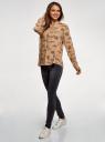 Блузка вискозная А-образного силуэта oodji #SECTION_NAME# (бежевый), 21411113B/42540/3337O - вид 6