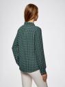 Блузка принтованная из шифона oodji #SECTION_NAME# (зеленый), 11400394-5/36215/6912G - вид 3