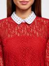Блузка из кружева с декором на воротнике oodji #SECTION_NAME# (красный), 21411092-1/45967/4500N - вид 4