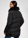 Куртка с воротником из искусственного меха oodji #SECTION_NAME# (черный), 10210002-1/46266/2901N - вид 3