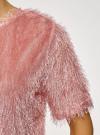 Блузка ворсистая с вырезом-капелькой на спине oodji #SECTION_NAME# (розовый), 14701049/46105/4B01N - вид 5