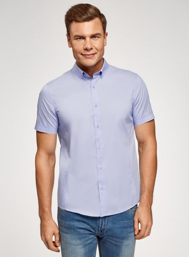 Рубашка базовая с коротким рукавом oodji #SECTION_NAME# (синий), 3B240000M/34146N/7000N