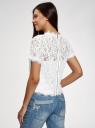 Блузка ажурная с коротким рукавом oodji #SECTION_NAME# (белый), 11401277/48132/1200L - вид 3