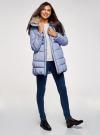 Куртка с воротником из искусственного меха oodji для женщины (синий), 10210002-1/46266/7500N - вид 6