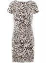 Платье трикотажное с заклепками на плечах oodji для женщины (слоновая кость), 14001177-1/37809/1229A