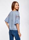 Блузка трикотажная с вышивкой на рукавах oodji #SECTION_NAME# (синий), 14207003/45201/7001N - вид 3