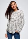 Блузка вискозная А-образного силуэта oodji #SECTION_NAME# (белый), 21411113B/42540/1229F - вид 2