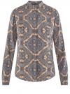 Блузка из вискозы принтованная с воротником-стойкой oodji #SECTION_NAME# (бежевый), 21411063-2/26346/3323E