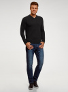 Пуловер базовый с V-образным вырезом oodji #SECTION_NAME# (черный), 4B212007M/39796N/2900N - вид 6
