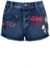 Шорты джинсовые с рисунком и потертостями oodji #SECTION_NAME# (синий), 12807072/45254/7919K