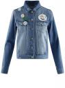 Куртка джинсовая со значками oodji #SECTION_NAME# (синий), 11109031/46654/7500W