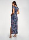 Платье макси с V-образным вырезом oodji #SECTION_NAME# (синий), 14001207/46943/7919F - вид 3