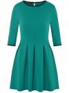 Платье трикотажное со складками на юбке oodji #SECTION_NAME# (зеленый), 14001148-1/33735/6D00N