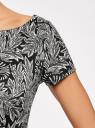 Платье трикотажное принтованное oodji #SECTION_NAME# (черный), 14001117-7/16564/2912O - вид 5