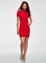 Платье трикотажное с коротким рукавом oodji #SECTION_NAME# (красный), 14011007/45262/4502N - вид 2