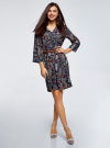 Платье вискозное с ремнем oodji #SECTION_NAME# (синий), 11900180B/48458/7919A - вид 2