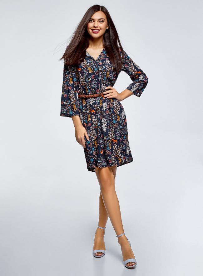 Платье вискозное с ремнем oodji #SECTION_NAME# (синий), 11900180B/48458/7919A