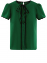 Блузка с коротким рукавом и контрастной отделкой oodji #SECTION_NAME# (зеленый), 11401254/42405/6E29B