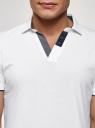 Поло хлопковое с контрастной отделкой oodji для мужчины (белый), 5L412336M/48044N/1079B