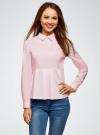 Блузка хлопковая с баской oodji #SECTION_NAME# (розовый), 13K00001-1B/42083/4000N - вид 2