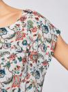 Блузка принтованная из вискозы oodji #SECTION_NAME# (разноцветный), 11400345-2/24681/4562F - вид 5