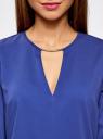 Блузка с вырезом-капелькой и металлическим декором oodji #SECTION_NAME# (синий), 21400396/38580/7500N - вид 4
