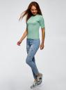 Джемпер в рубчик с круглым вырезом oodji для женщины (зеленый), 14701075/46412/6500N
