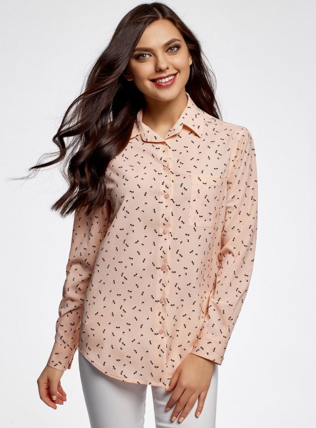 Блузка прямого силуэта с нагрудным карманом oodji #SECTION_NAME# (розовый), 11411134B/46123/4029G