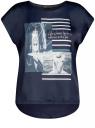 Футболка из комбинированной ткани с принтом oodji для женщины (синий), 11405140-1/46724/7910P