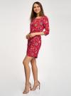 Платье вискозное с рукавом 3/4 oodji #SECTION_NAME# (красный), 11901153-1B/42540/4555F - вид 6