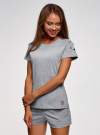 Пижама хлопковая с принтом oodji для женщины (серый), 56002201-6/46154/2000Z - вид 2