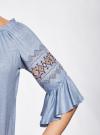Блузка трикотажная с вышивкой на рукавах oodji #SECTION_NAME# (синий), 14207003/45201/7001N - вид 5