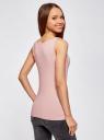 Комплект из двух базовых маек oodji для женщины (розовый), 24315001T2/46147/4A01N