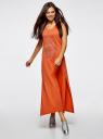 Платье макси с черепом из страз oodji #SECTION_NAME# (оранжевый), 14005134/45204/5991P - вид 6