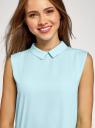 Блузка базовая без рукавов с воротником oodji #SECTION_NAME# (бирюзовый), 11411084B/43414/7000N - вид 4