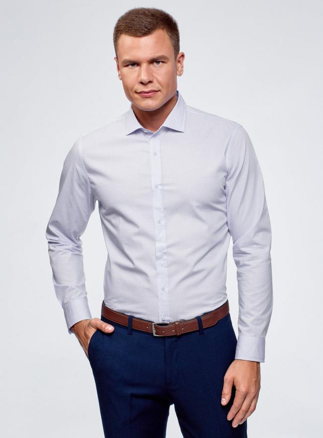 Рубашка приталенная с графическим принтом oodji #SECTION_NAME# (синий), 3L310120M/34156N/1070G