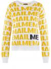 Джемпер вязаный жаккардовый с надписями oodji #SECTION_NAME# (желтый), 63807360/49867/1052O