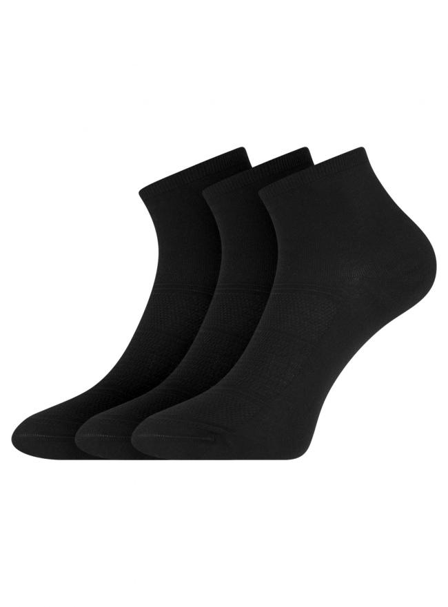 Комплект из трех пар ажурных носков oodji #SECTION_NAME# (черный), 57102709-1T3/49650/2