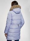 Куртка удлиненная с искусственным мехом на капюшоне oodji #SECTION_NAME# (синий), 10203058/45928/7502N - вид 3