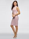 Платье в рубчик с воротником-стойкой oodji #SECTION_NAME# (розовый), 14005138-2/46412/4000N - вид 6
